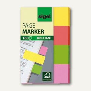 Sigel Haftmarker Brillant, 20 x 50 mm, 4 Farben sortiert, 4 x 40 Blatt, HN630