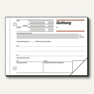 Sigel Formular Quittung, DIN A6 quer, MwSt. Nachweis, 2x50 Blatt, QU625