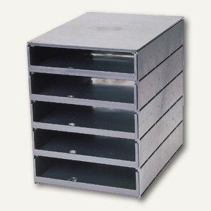 Styro Stryroval Schubladenbox, 5 offene Schübe, grau, 23101-85