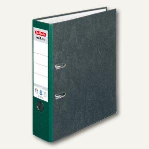 Herlitz Ordner maX.file nature 80 mm breit, Wolkenmarmor, grüner Rücken, 5171509