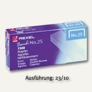 Rexel Heftklammern Nr. 23, 23/10, verzinkt, Stahl, 1.000 Stück, 2101212