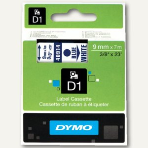 Dymo D1 Etikettenband, 9 mm x 7 m, blau auf weiß, S0720690