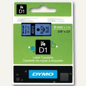Dymo D1 Etikettenband, 9 mm x 7 m, schwarz auf blau, S0720710