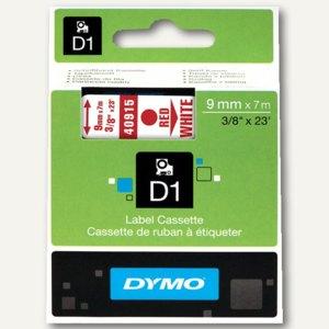 Dymo D1 Etikettenband, 9 mm x 7 m, rot auf weiß, S0720700