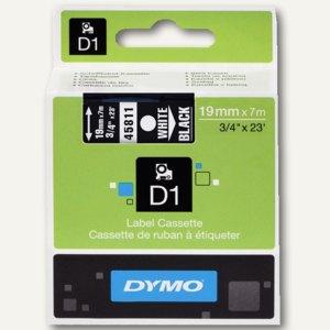 Dymo D1 Etikettenband, 19 mm x 7 m, weiß auf schwarz, S0720910