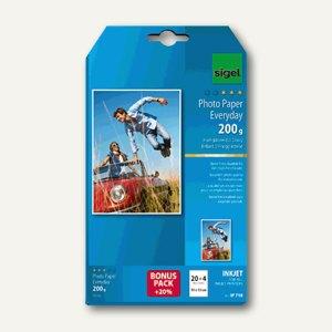 "Sigel Fotopapier ""Everyday"", 10x15cm, hochglänzend, 200 g/m², 20+4 Bl., IP718"