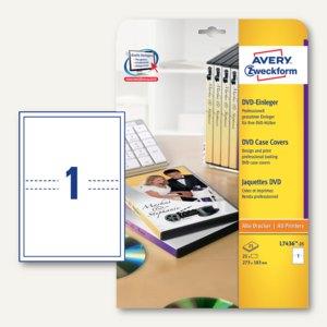 Zweckform DVD-Einleger für Filmboxen, alle Drucker, 273x183 mm, 25 St., L7436-25