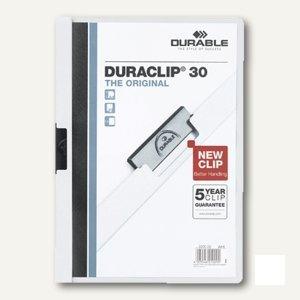 Durable Klemm-Mappe DURACLIP, DIN A4, bis 30 Blatt, weiß, 2200-02