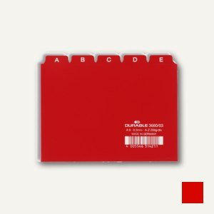 Durable Leitregister DIN A6 quer, Kunststoff, 5/5 Teilung, rot, 3660-03
