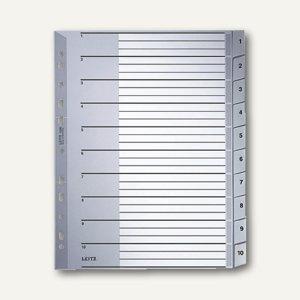 LEITZ Kunststoff-Register für DIN A4, Zahlen 1-10, Überbreite, 1280-00
