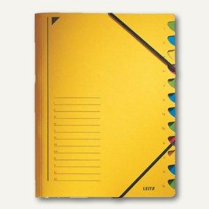 LEITZ Ordnungsmappe DIN A4, Fächer 1-12, gelb, 39120015