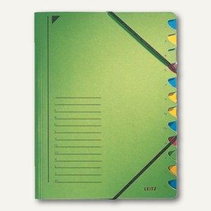LEITZ Ordnungsmappe DIN A4, Fächer 1-12, grün, 39120055