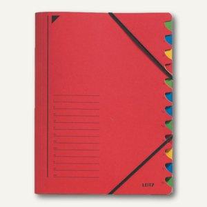 LEITZ Ordnungsmappe DIN A4, Fächer 1-12, rot, 39120025