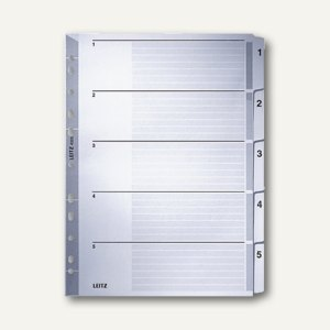 LEITZ Register, DIN A4, Zahlen 1-5, verstärkte Lochung /Taben, grau, 4323-00-00