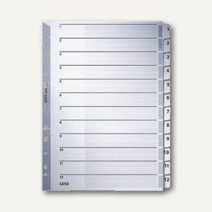 LEITZ Register, DIN A4, Zahlen 1-12, verstärkte Lochung /Taben, grau, 4325-00-00