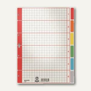 LEITZ Register Karton blanko, DIN A4, 6 Blatt, farbig, 4350-00-85