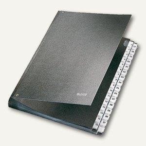 LEITZ Pultordner DIN A4, Fächer 1-31, Hartpappe, schwarz, 5831-00-95
