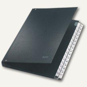 LEITZ Pultordner DIN A4, 1-31, Hartpappe / PP überzogen, schwarz, 5931-00-95
