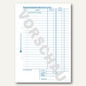 Formular Kassenbestandsrechnung