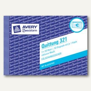 Zweckform Formular QUITTUNG inkl. MwSt., DIN A6, Blaupapier, 2x50 Blatt, 321