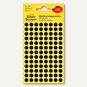 Zweckform Markierungspunkte, rund, Ø 8 mm, schwarz, 416 Stück, 3009