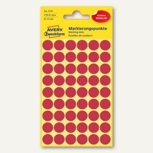 Zweckform Markierungspunkte, rund, Ø 12 mm, rot, 270 Stück, 3141