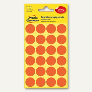 Zweckform Markierungspunkte, rund, Ø 18 mm, leuchtrot, 96 Stück, 3172