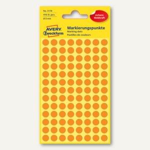Zweckform Markierungspunkte, rund, Ø 8 mm, leuchtorange, 416 Stück, 3178