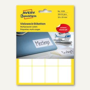 Zweckform Mini-Organisations-Etiketten, 38 x 29 mm, 384 Etiketten, 3326