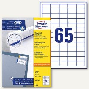 Zweckform Universal-Etiketten, 38 x 21.2 mm, weiß, Rand, 6.500 Stück, 3666