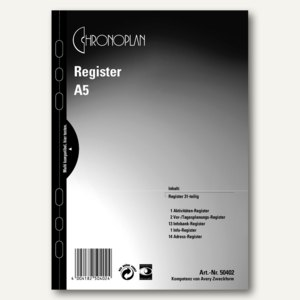 Chronoplan Zeitplaner Register, DIN A5, 31-teilig, 50402