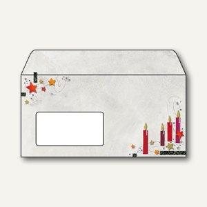 "Sigel Weihnachtsumschlag ""Candle light"", DL mit Fenster, 90 g/m², 25 St., DU125"