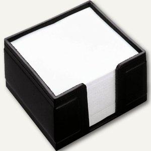 Läufer Monza Zettelbox aus Lederfaserstoff, 10x5x10 cm, befüllt, schwarz, 34126