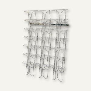 deflect.o Wandprospekthalter, 21 Fächer für DIN A4, chrom, DE78945