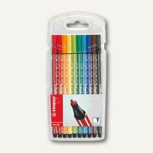 STABILO Fasermaler Pen 68, Etui mit 10 Farben, sortiert, 6810/PL