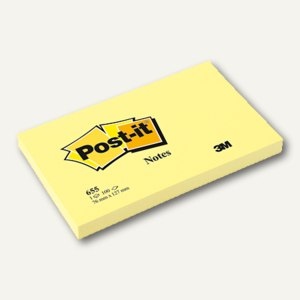 Post-it Notes Haftnotizen, gelb, 127 x 76 mm, Block á 100 Blatt, 655