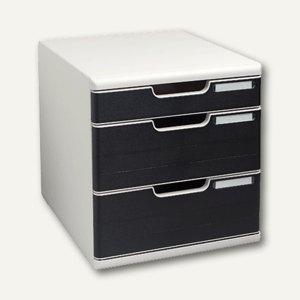 Multiform Büroboxen MODULO A4, 3 Laden/2 Höhen, grau/schwarz, 325014D