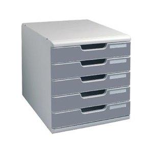 Multiform Büroboxen MODULO A4, 5 Laden, lichtgrau/steingrau, 301041D