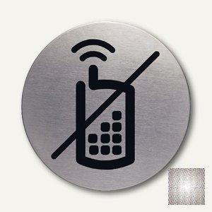 """Durable Edelstahl-Piktogramm """"Handy verboten"""", Ø 83 mm, 2 Stück, 4917-23"""
