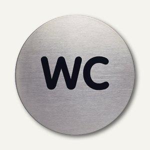 """Durable Edelstahl-Piktogramm """"WC"""", Ø 83 mm, 2 Stück, 4907-23"""