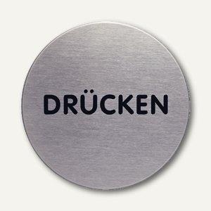 """Durable Edelstahl-Piktogramm """"Drücken"""", Ø 65 mm, 4900-61"""