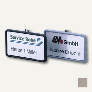 Durable Namensschild Clip-Card mit Kombiklemme, 40x75mm, grau, 25 St., 8130-10