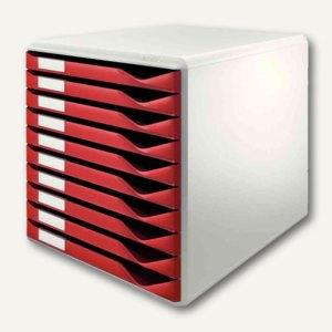 LEITZ Schubladenbox Formular-Set, zehn Schubladen, rot, 5281-00-25