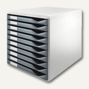 LEITZ Schubladenbox Formular-Set, zehn Schubladen, dunkelgrau, 5281-89