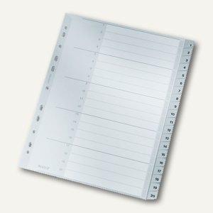LEITZ Kunststoff-Register für DIN A4, Zahlen 1-20, Überbreite, 1284-00