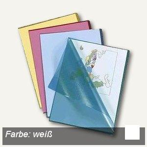 officio Sichthüllen DIN A4, oben & Seite offen, 120my genarbt, weiß, 100 Stück