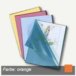 officio Sichthüllen DIN A4, oben & Seite offen, 120my genarbt, orange, 100 Stück