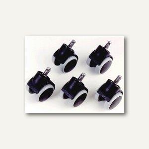 Topstar Hartbodenrollen für Büro-Drehstühle, Stift: 10 mm, schwarz, 5 Stück,6991