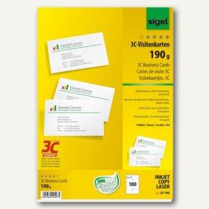 Sigel PC-Visitenkarten 3C, 85x55mm, 190 g/m², hochweiß, 100 Stück, LP790