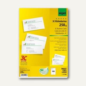Sigel PC-Visitenkarten 3C, 85x55mm, 250 g/m², hochweiß, 100 Stück, LP800